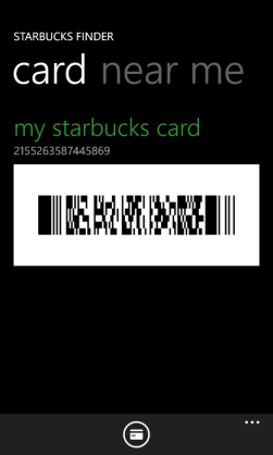 My Starbucks Card- Windows Phone 7 app