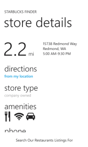 Store details page on white phone theme