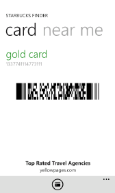 Windows Phone Starbucks Finder Mobile Payment with Starbucks Card