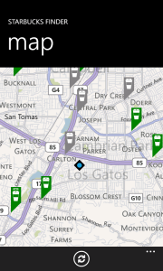 Starbucks Finder windows phone map